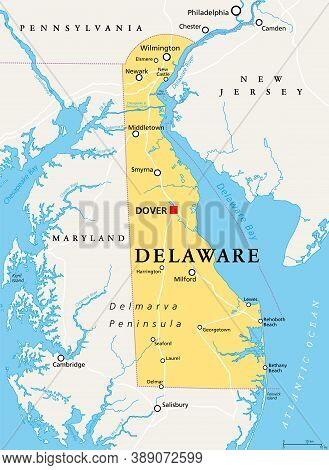 Delaware, De, Political Map. State In The Mid-atlantic Region Of The United States Of America. Capit