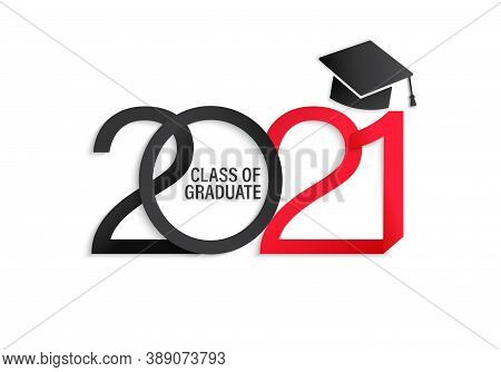 Class Of 2021, Elegant Card In Black And Red Colors For Banners, Flyers, Greetings, Invitations, Bus