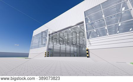 Industrial Or Commercial Building Interior Exterior. Use As Factory, Warehouse, Hangar, Store And Wo