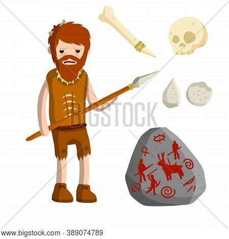 Primitive Caveman. Prehistoric Hunter. Stone Age. Man With Spear.