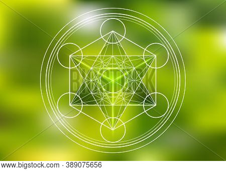 Metatrons Cube, Flower Of Life, Merkaba Sacred Geometry Spiritual New Age Futuristic Vector Illustra