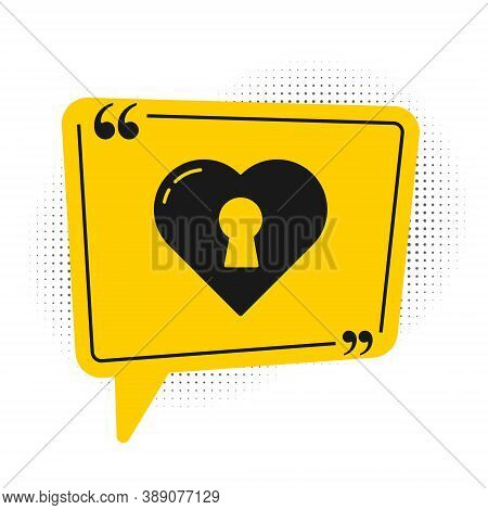 Black Heart With Keyhole Icon Isolated On White Background. Locked Heart. Love Symbol And Keyhole Si