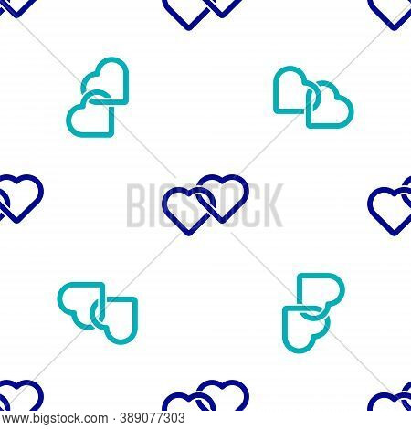 Blue Two Linked Hearts Icon Isolated Seamless Pattern On White Background. Romantic Symbol Linked, J