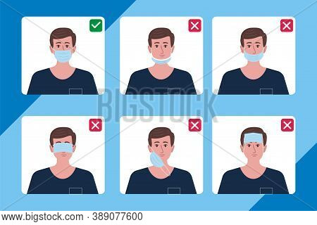 How To Wear Medical Face Mask Properly. Instruction For Personal Hygiene During Coronavirus. Boy Cha