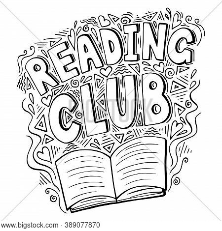 Reading Club Icon With Open Book, Vector Illustration In Retro Doodle Style. Black And White Reading