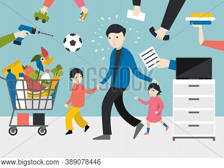Multitasking Man. Father, Businessman With Children, Working, Shopping And Playing With Kids.