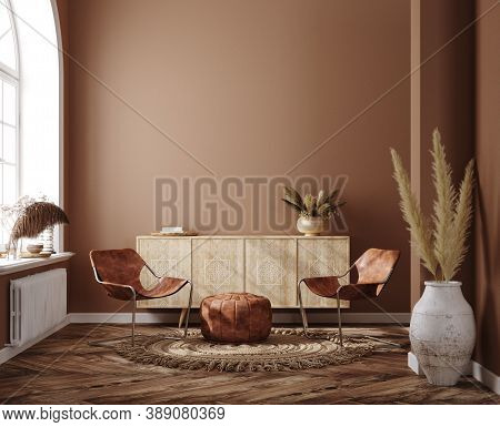 Home Interior With Ethnic Boho Decoration, Living Room In Brown Warm Color, 3d Illustration