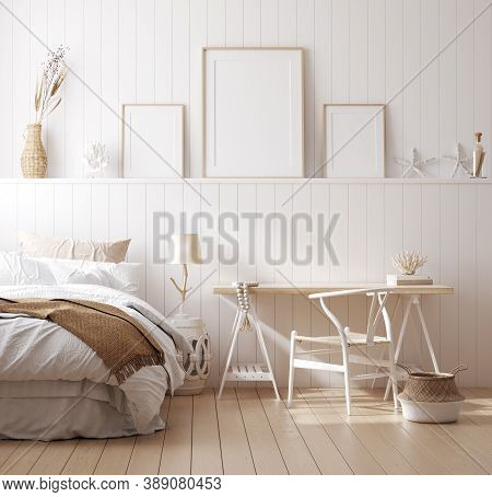 Mock Up Frame In Cozy Home Interior Background, Coastal Style Bedroom, 3d Illustration