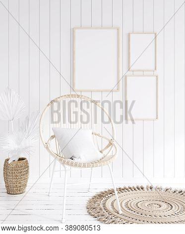 Mock Up Frame In Cozy Coastal Home Interior Background, 3d Illustration