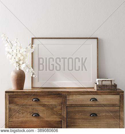 Mockup Frame In Farmhouse Living Room Interior, 3d Illustration
