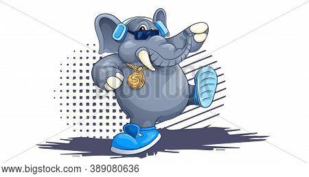 Dancing Elephant Cartoon Hand Drawn Image. Original Colorful Artwork, Comic Childish Style Drawing.