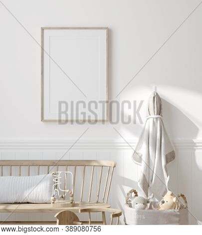 Mock Up Frame In Children Room With Natural Wooden Furniture, Farmhouse Style Interior Background, 3