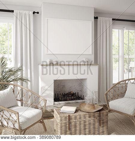Mockup Frame In Scandinavian Farmhouse Living Room Interior, 3d Illustration