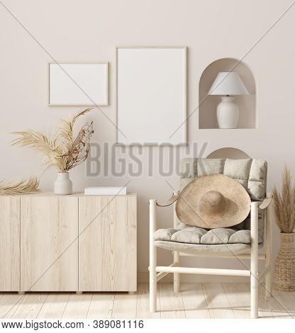 Mock Up Frame In Home Interior Background, Beige Room With Natural Wooden Furniture, 3d Illustration