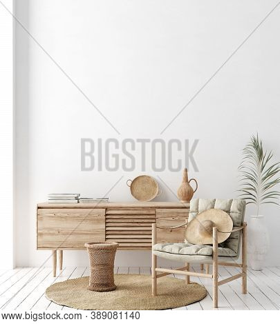 Wall Mock Up In White Simple Interior With Wooden Furniture, Scandi-boho Style, 3d Illustration