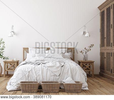 Scandinavian Farmhouse Bedroom Interior, Wall Mockup, 3d Illustration