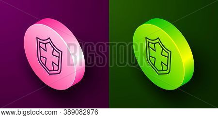 Isometric Line Shield Icon Isolated On Purple And Green Background. Guard Sign. Security, Safety, Pr
