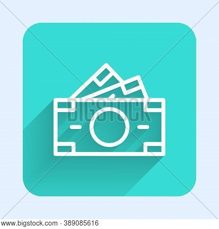 White Line Stacks Paper Money Cash Icon Isolated With Long Shadow. Money Banknotes Stacks. Bill Curr