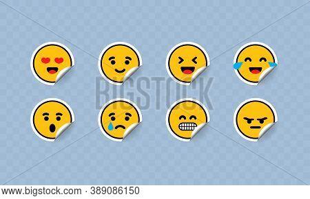 Emoji Face In Sticker Shape. Emoticon Icon Flat. Emoticons Collection. Yellow Cartoon Faces Set Emoj