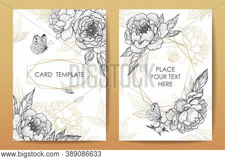 Wedding Invitation, Poster, Greeting Card Template Design With Hand Drawn Peonies, Butterflies And G