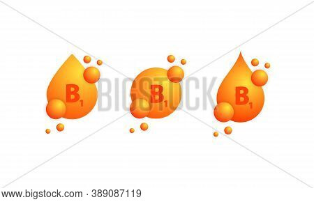 Vitamin B1 Icon Set. Shining Golden Drop Of Substance. Vitamin Complex With Chemical Formula, Group