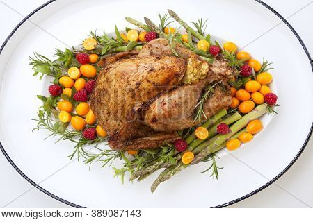 Citrus Glazed Thanksgiving Turkey On White Tray