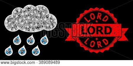 Shiny Mesh Net Rain Cloud With Glowing Spots, And Lord Scratched Ribbon Stamp Seal. Red Stamp Seal C