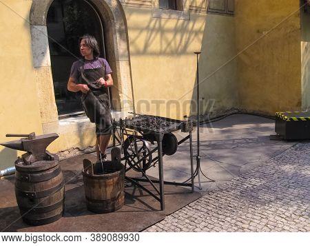 Prague, Czech Republic - 26 June, 2010: The Local Man At Prague Castle At Prague, Czech Republic On