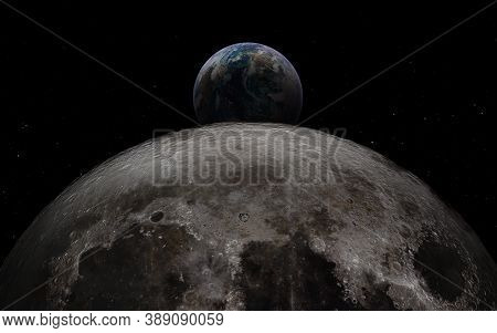 Earth Rises Above Moon Surface With Huge Meteor Craters. Elements Of This Image Furnished By Nasa.
