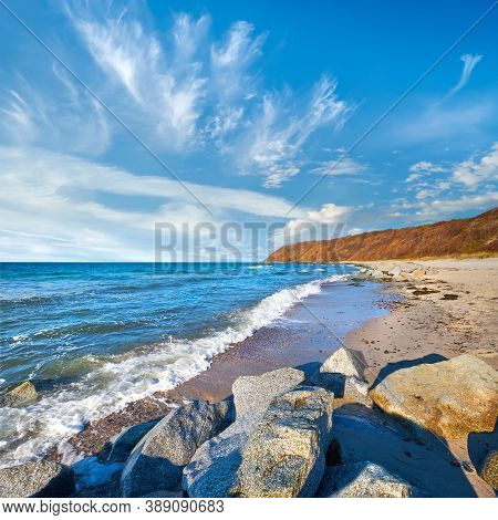 Stones Protecting Sand On Beach. Beach Near Kloster On Island Hiddensee, Germany In Autumn