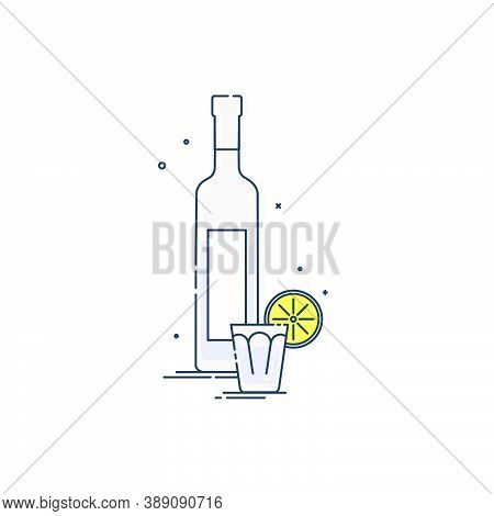 Vodka In Bottle And Glass With Snack Lemon. White Background. Tasty Snack. Closeup Shot. Trendy Frui