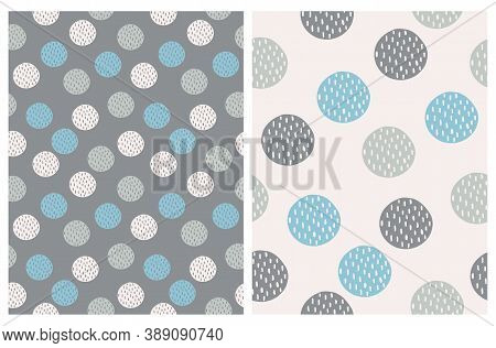 Simple Dotted Seamless Vector Print. Blue And Gray Hand Drawn Dots Isolated On A Gray And Light Beig