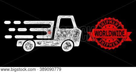Glowing Mesh Net Delivery Car Chassi With Glowing Spots, And Shipment Worldwide Unclean Ribbon Stamp