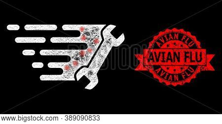 Glowing Mesh Web Wrench With Glowing Spots, And Avian Flu Unclean Ribbon Seal Imitation. Red Seal Ha