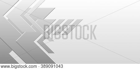 Right Angle Frame Abstract Background. Arrowhead White, Gradient Of Light Tones To Dark Colors. Temp