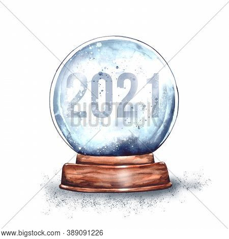 Watercolor Illustration.magic Christmas Glass Snow Globe On A Wooden Stand With A Number With The Da