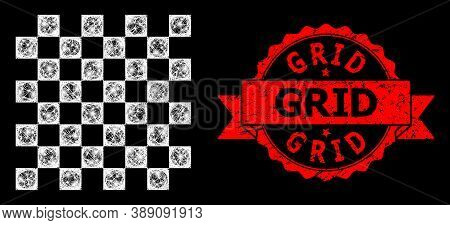 Glare Mesh Polygonal Chess Board With Light Spots, And Grid Grunge Ribbon Seal Print. Red Seal Has G