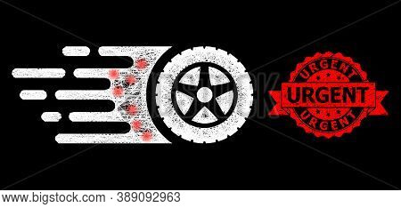Glowing Mesh Web Tire Wheel With Glowing Spots, And Urgent Textured Ribbon Stamp. Red Stamp Seal Has