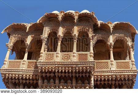 Salam Singh Ki Haveli In Jaisalmer, Rajasthan State, India. A Haveli Is A Traditional Townhouse Or M