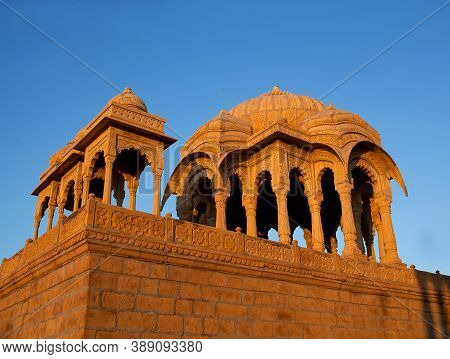 Ancient Bada Bagh Cenotaphs In Desert, Also Known As Jaisalmer Chhatris, India