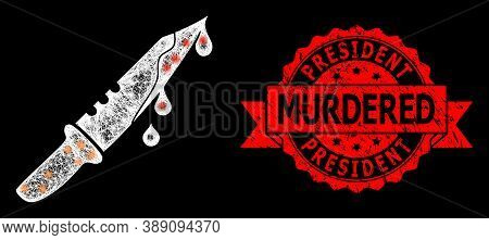 Bright Mesh Network Blood Knife With Glowing Spots, And President Murdered Textured Ribbon Stamp Sea