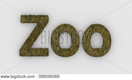 Zoo - 3d Word Yellow On White Background. Render Furry Letters. Wild Zoo Animals, Animal At Safari P