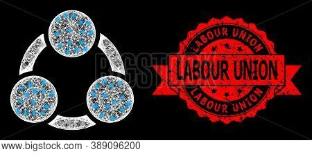 Shiny Mesh Web Cooperation With Light Spots, And Labour Union Textured Ribbon Seal Print. Red Seal I