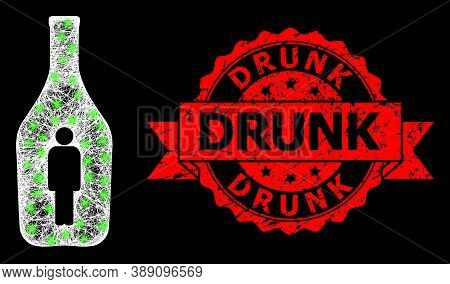 Glare Mesh Polygonal Alcoholic Person With Glowing Spots, And Drunk Scratched Ribbon Stamp Seal. Red