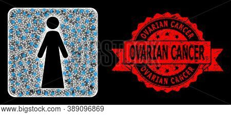 Glowing Mesh Polygonal Woman With Glowing Spots, And Ovarian Cancer Corroded Ribbon Stamp Seal. Red