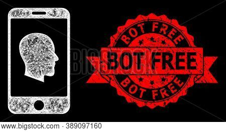 Glare Mesh Network Cellphone Profile With Glowing Spots, And Bot Free Dirty Ribbon Seal Print. Red S
