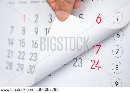 The Mans Hand Turns The Calendar. The Mans Hand Turns The Calendar