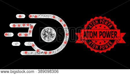 Glare Mesh Polygonal Participle Motion With Light Spots, And Atom Power Scratched Ribbon Stamp. Red