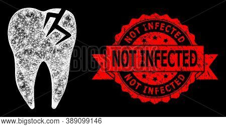 Shiny Mesh Web Tooth Fracture With Light Spots, And Not Infected Dirty Ribbon Stamp Seal. Red Stamp