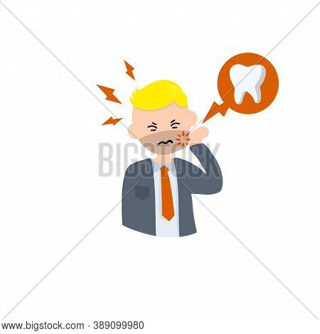 Man With Caries. Bubble With Tooth Decay Icon. Pain In Cheek. The Dentists Work. Health Care. Cartoo